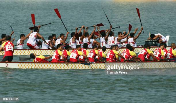 Indonesia celebrate winning the Men's 500m Straight Race final at Zengcheng Dragon Boat Lake during day seven of the 16th Asian Games Guangzhou 2010...