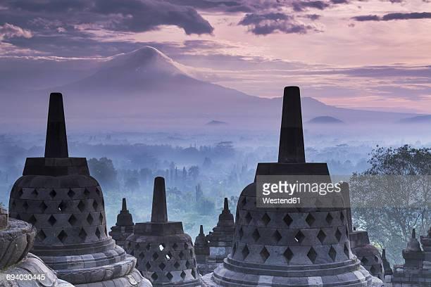 Indonesia, Central Java, Magelang, Candi Borobudur and Mount Merapi