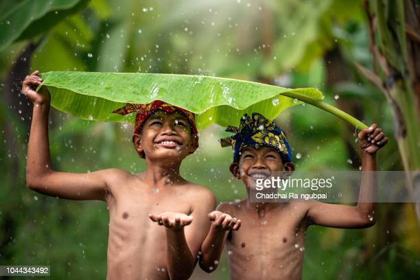 indonesia children farmer playing rain. asian kid smile. indonesian concept. - human arm stockfoto's en -beelden