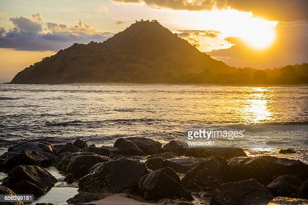 Indonesia, Coastline of Sumbawa island at sunset
