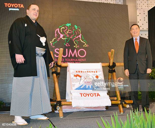 JAKARTA Indonesia Estonian sumo wrestler Baruto promotes a Japanese sumo tournament to be held in late August 2013 in Jakarta during a press...