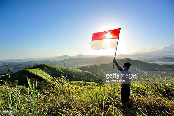 indonesia flag - indonesia flag stock photos and pictures