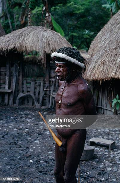 Indonesia Irian Jaya Baliem Valley Old male Dani warrior wearing penis gourd and luck charms Irian Jaya was annexed by Indonesia in 1963 and seeks...