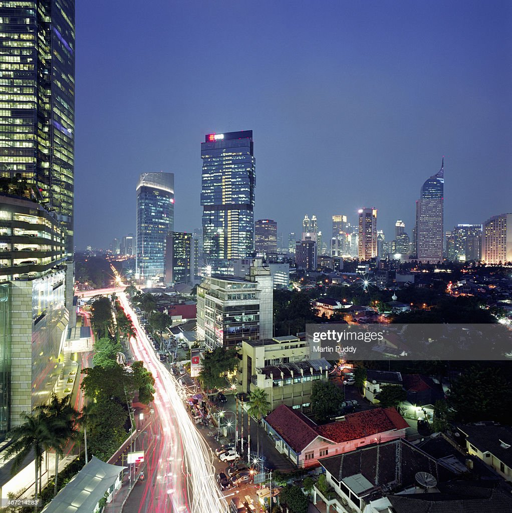 Indonesia Jakarta Skyline At Dusk Stock Photo