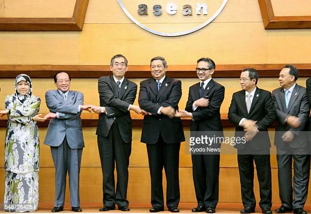 JAKARTA Indonesia Japanese Foreign Minister Takeaki Matsumoto Indonesian President Susilo Bambang Yudhoyono and ministers of the Association of...