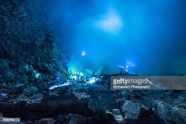 Indonesia, Java Island, East Java province, Mining Sulfur in Kawah Ijen volcano (2500m), blue flames