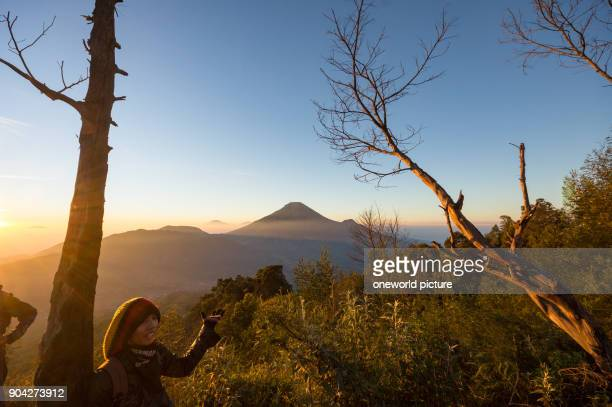 Indonesia Java Tengah Wonosobo At sunrise View of the Sindoro Volcano in front in the distance is the Stratovulkan Gunung Sumbing