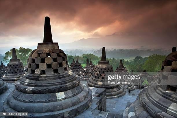Indonesia, Java, Yogyakarta, Borobudur temple at dusk