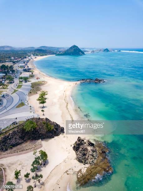 indonesia, lombok, kuta, aerial view of beach - lombok fotografías e imágenes de stock