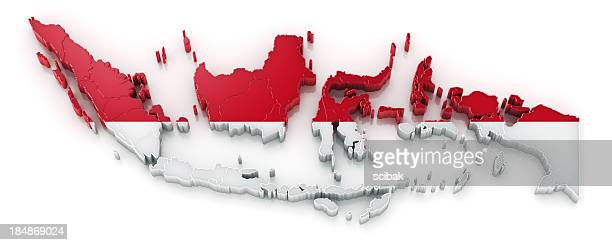 indonesia map with flag - indonesia map stock photos and pictures