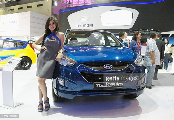 Indonesia - Photo shows the booth of South Korea's Hyundai Motor Co. At the Indonesia International Motor Show in Jakarta on Sept. 19, 2013.