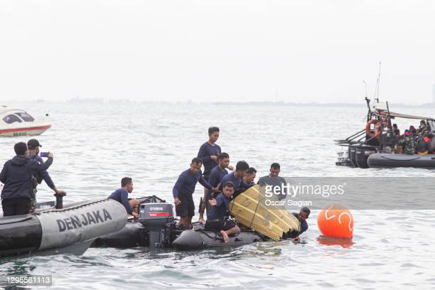 Indonesia Rescue team find part of a Sriwijaya airplane on January 10, 2021 in Jakarta, Indonesia. Sriwijaya Air flight SJY182, carrying 62 people on...
