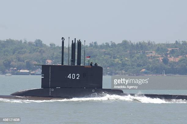 Indonesia submarine KRI Nanggala-402 perform Sailing Pass during the preparation for the anniversary of Indonesia Military or Tentara Nasional...