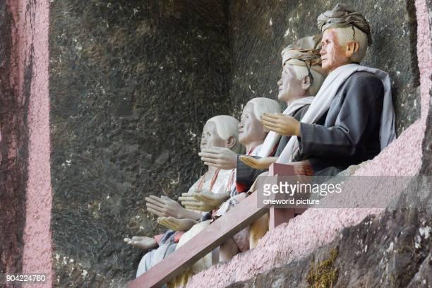 Indonesia Sulawesi Selatan Toraja Utara figures in rows rock tombs death cult