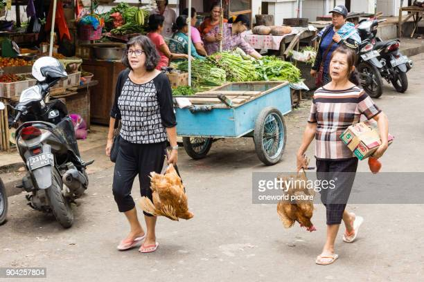 Indonesia Sulawesi Utara Kota Tomohon Two women after shopping on Sulawesi Utara