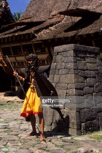 Indonesia Sumatra Nias Island Hilisimaetano Village Jumping Stone Man In Traditional Costume