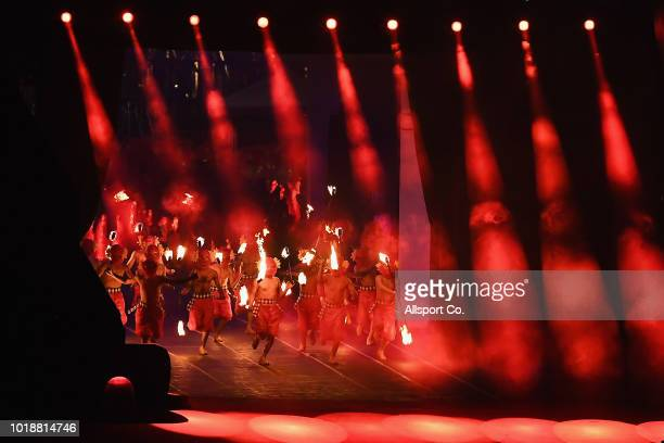 Indonesia traditional dancers perform during the opening ceremony of the Asian Games at the Gelora Bung Karno stadium on August 18, 2018 in Jakarta,...