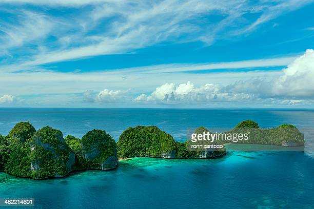 indonesia, west papua, papua, raja ampat, wayag, small islands on sea - raja ampat islands stock photos and pictures