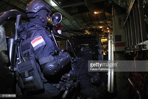 Indonesian Air Force BRAVO90 seen during a simulation where they managed to release the hostages and incapacitated terrorists at Kualanamu airport on...