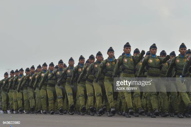 Indonesian air force soldiers parade at the Halim Perdanakusuma air force base in Jakarta on April 9 2018 Indonesia's Air Force celebrates its 72th...