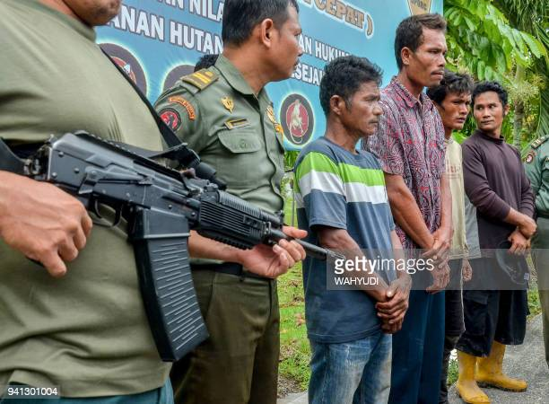 Indonesian armed rangers display four suspects charged with killing and eating four sun bears to the media in the village of Kerta Tunas Jaya in Riau...