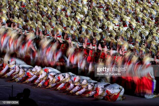 Indonesian artist perform Saman dance during the opening ceremony of the Asian Games 2018 at Gelora Bung Karno Stadium on August 18 2018 in Jakarta...