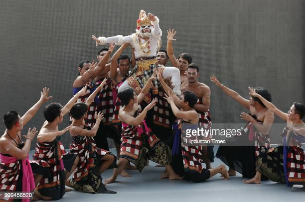 Hockey player Sardar Singh holds the torch during the 'Torch Relay' begins for the 18th Asian Games Jakarta Palembang 2018 after the flame lighting...