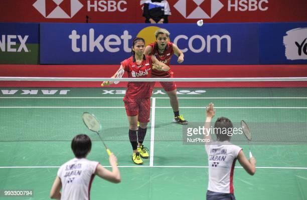 Indonesian badminton players Greysia Polii/Apriyani Rahayu versus Japanese players Yuki Fukushima/Sayaka Hirota during the women's Doubles of the...