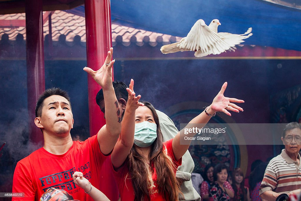 Indonesian Chinese release pigeaon as part of pray during Chinese New Year celebrations at Dharma Bhakti Temple on February 19, 2015 in Jakarta, Indonesia. The Chinese Lunar New Year of the Sheep also known as the Spring Festival, is based on the Lunisolar Chinese calendar, and is celebrated from the first day of the first month of the lunar year and ends with a Lantern Festival on the Fifteenth day. Chinese New Year is the most important festival in the Chinese calendar and is widely celebrated across Asia