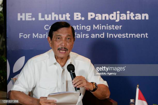 Indonesian Coordinating Minister for Maritime Affairs and Investment Luhut Binsar Pandjaitan speaks during a press conference at Grand Hyatt Hotel in...
