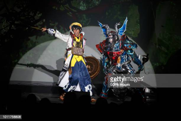 Indonesian cos players seen performing Cos players from 36 different countries gathered in Nagoya to perform during the annual Cos play summit in...