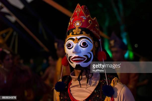Indonesian dancer with Topeng Getak mask pictured during the KL GENTA 2017 at Panggung Anniversary Taman Botani Perdana in Kuala Lumpur Malaysia on...