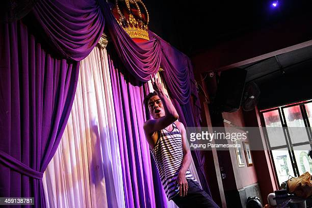 Indonesian drag queen Renata practices for a special performance on the 5th anniversary celebrations of Bali Joe Bar one of the most famous gay bars...