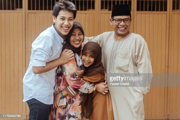 indonesian family - beautiful ramadan stock pictures, royalty-free photos & images