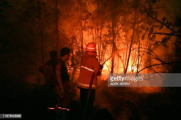 Indonesian fire fighters extinguish a fire in a land next to residence in Pekanbaru Riau province on September 13 2019 as the number of blazes in...
