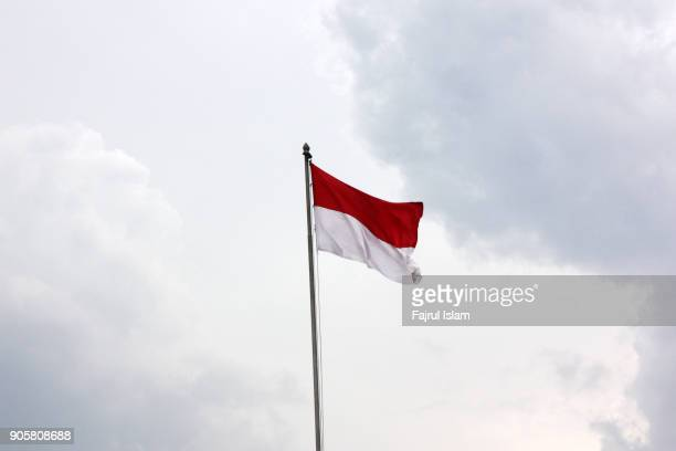 indonesian flag with sky as background - indonesia flag stock photos and pictures