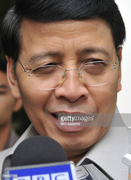 Indonesian Foreign Minister Hassan Wirayuda speaks to members of the media before meeting UN envoy for Myanmar Ibrahim Gambari in Jakarta on February...