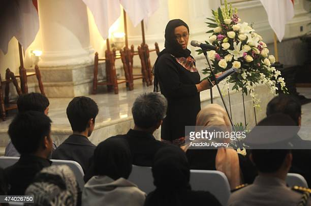 Indonesian foreign miniter Retno Marsudi gives a speech during the funeral ceremony for Indonesian Ambassador of Pakistan Burhan Muhammad in Jakarta...