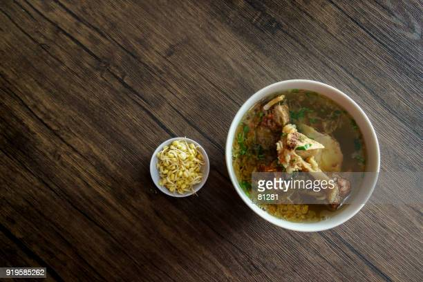 Indonesian grilled ribs soup