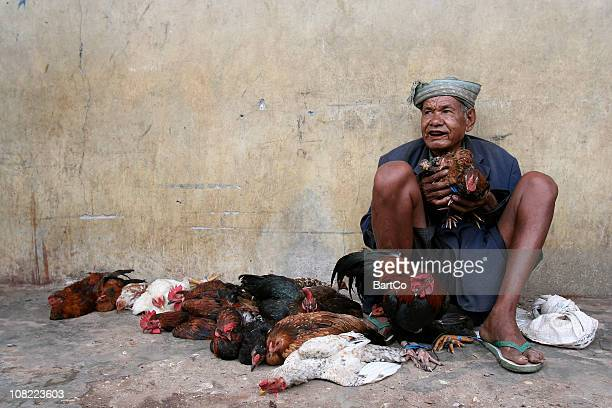 Indonesian Man Sitting on Street and Selling Dead Chickens