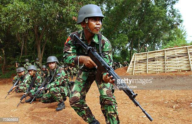 Indonesian Marines participate in training exercises for future missions next week in Aceh April 22 2003 at Indonesia Marine Headquarters in Jakarta...