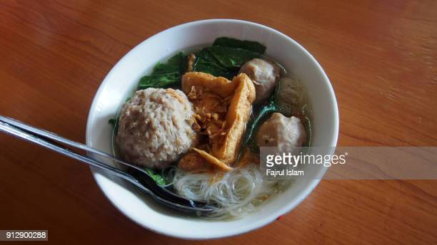 indonesian meatball named bakso - indonesian culture stock pictures, royalty-free photos & images