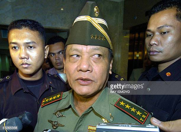 Indonesian military chief Endriartono E Sutarto talks to the press after a meeting with ASEAN armies chief in Jakarta 06 September 2004 The...