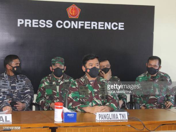 Indonesian military chief Hadi Tjahjanto speaks during a press conference in Denpasar on April 24 as search operations continued off the coast of...