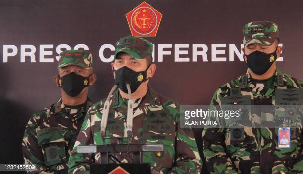 Indonesian military spokesperson Achmad Riad speaks during a press conference in Denpasar on April 22 announcing the deployment of warships and...
