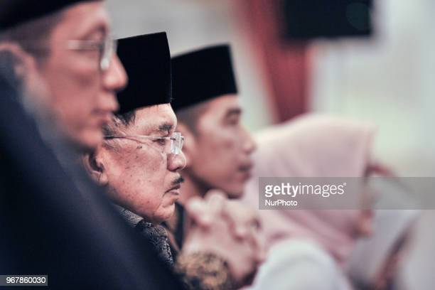 Indonesian Minister of Religious Affairs Lukman Hakim , Vice President Jusuf Kalla, Indonesian President Joko Widodo during Nuzulul Quran event at...