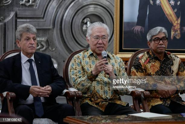 Indonesian Minister of Trade Enggartiasto Lukita speaks during press conference of free import duties of Palestinian dates and olive oil commodity...