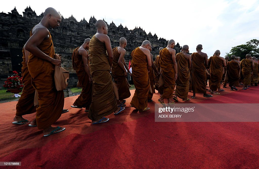 Indonesian monks arrive at the Borobudur temple during Vesak festival in Magelang on May 28, 2010. Vesak day is a Buddhist holiday commemorating the birth, enlightement and death of the historical Gautama Buddha, in Indonesia is held on May 28.
