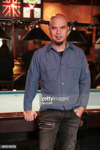 Indonesian musician Ahmad Dhani poses during a promotional event in Jakarta on January 6 2018 / AFP PHOTO / BAHTIAR