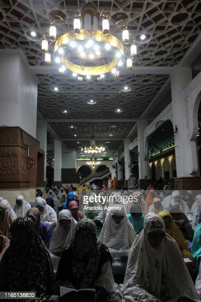 Indonesian muslims attend the 1 Muharram 1441 Hijriah celebrations marking Islamic new year at the Great Mosque in Semarang Central Java Province on...